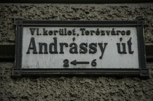 BUD Budapest - Andrassy ut street sign on wall 3008x2000